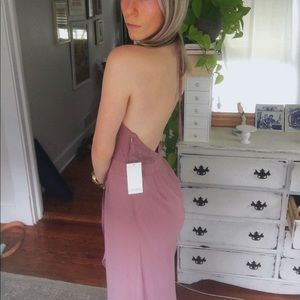 Backless purple maxi dress